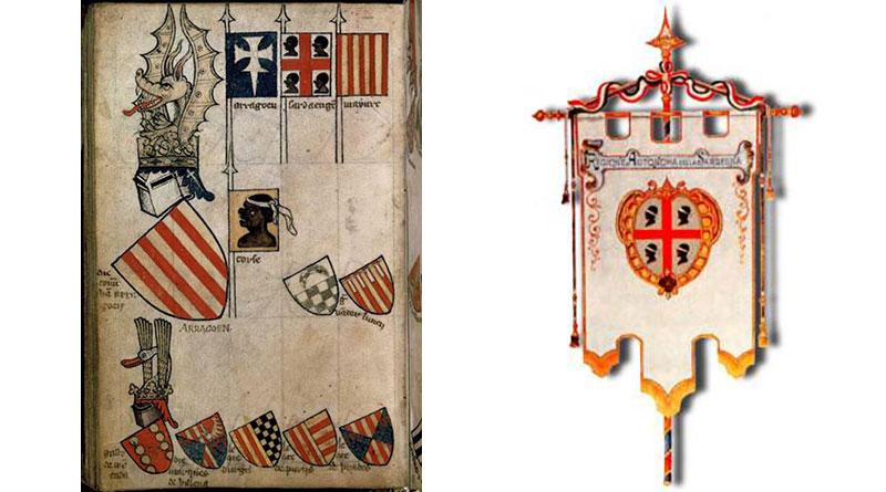 Bandiera dei quattro mori Stemmario di Gerle e Gonfalone